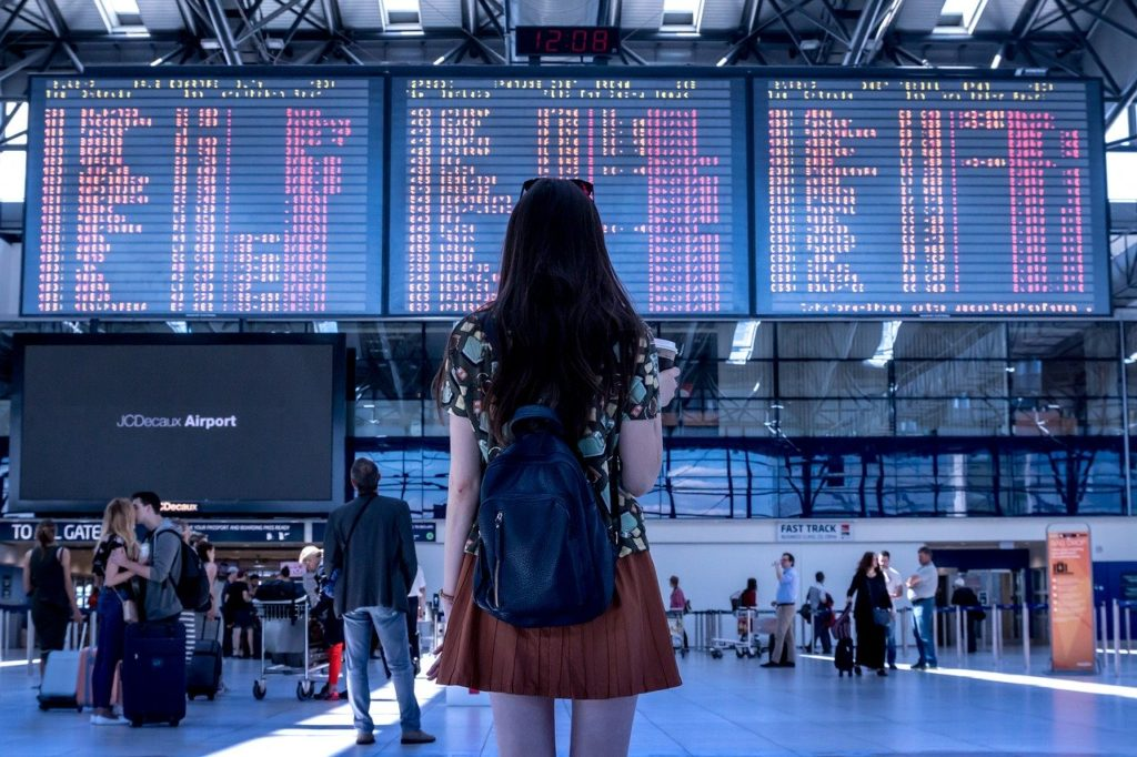 airport, transport, woman